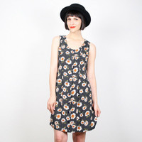 Vintage Sunflower Dress Daisy Dress Navy Blue Polka Dot Print 90s Dress Grunge Dress Mini Dress Babydoll Dress 1990s Dress S Small M Medium