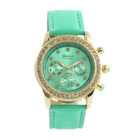 CHIC PATENT MINT SPARKLING WATCH