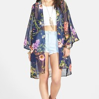 Lush Print Chiffon Lightweight Jacket (Juniors)