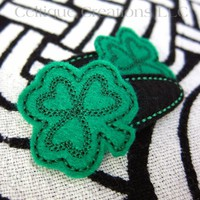 Shamrock Snap Hair Clips Irish Clover Handmade Hair Accessories Black | celtique_creations - Accessories on ArtFire