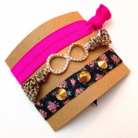 Set of Three Embellished Bling Pave Stud Infinity FOE Floral Rhinestone Arrow Neon Pink Set Hair Ties Arm Candy Bling Glam EmiJay Inspired