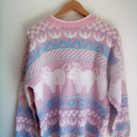 80s // 90s L PIGGY Pastel Knit Sweatshirt Sweater Jumper Large Medium 1980s 1990s
