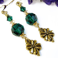 Emerald Green Crystal Earrings Shamrock Lucky Charm St. Patrick