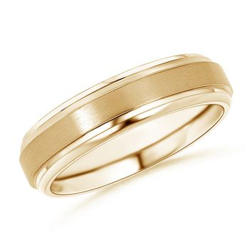 14K Yellow Gold Satin Finish Men's Wedding Band - WRM_SR0772