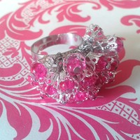 Hot pink glass bead adjustable cluster ring