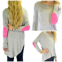 Rock Candy Gray Sequin Patch Hi-Lo Top