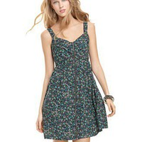 Be Bop Dress, Sleeveless Floral Printed Zipper Front A-Line