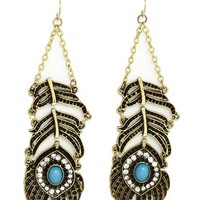 RHINESTONE FEATHER CHANDELIER EARRINGS