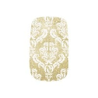 Gold Glitter Damask Nails