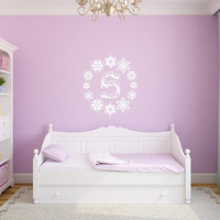 Snowflakes Frozen Monogram Nursery Girls Room Vinyl Wall Decal 22386