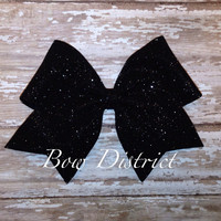 "2.25"" Black Glitter MINI Cheer Bow"