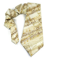 Music tie, music notes tie, music staff tie, music teacher gift, mens tie, music teacher tie, band tie, choir tie, gold tie, gold music tie