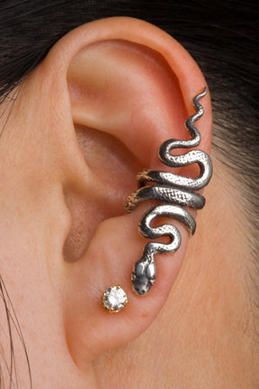 Sterling Silver Snake Serpent Ear Cuff Left Earring Rattlesnake
