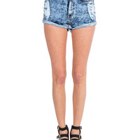 High Rise Rolled Up Distressed Shorts