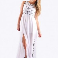 White Sleeveless Maxi Dress with Black Cage Detail