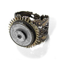 Steampunk Ring Vintage UNISEX Brass Watch Parts by edmdesigns