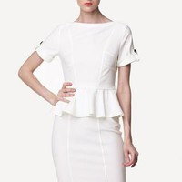 Bqueen White Flouncing Retro Commuting Dress BG077 #dress #white #peplum #formal #workwear #officewear
