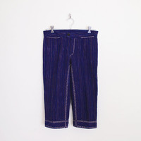Whip Stitch Pants Crop Pants Capri Pants Navy Blue Pants Navy Pants 70s Pants 70s Hippie Pants 70s Hippy Pants 70s Boho Pant XS Extra Small