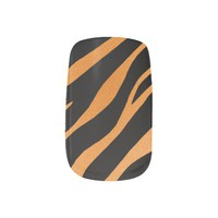 Black With Orange Zebra Minx Nails