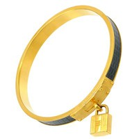 Hermes Kelly Gold Plated Leather Bangle - Made in France, 8/10 Condition - 			        	Junior Girls and Boys Apparel & Accessories