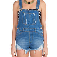Cut Off Denim Short Overalls