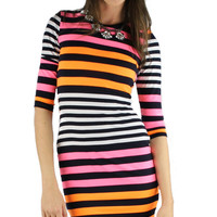 Neon Stripes Bodycon Dress - Pink/Orange