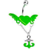 Neon Green Angel Wing Heart with Nautical Anchor Drop Dangle Belly Ring | Body Candy Body Jewelry