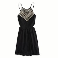 AE EMBROIDERED HALTER SUNDRESS