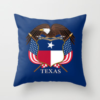 Texas flag and eagle crest - original design by BruceStanfieldArtist Throw Pillow by BruceStanfieldArtist America