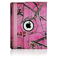 "Apple New ""iPad Air"" Pink Real Camo Camouflage Mossy Tree PU Leather 360 rotating Smart Case Cover with Closing band"