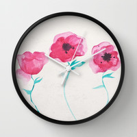 Asian Poppies Wall Clock by DuckyB (Brandi)