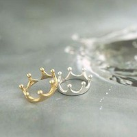 Dainty Crown Ring in Gold or Silver from P.S. I Love You More Boutique