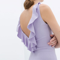 FITTED DRESS WITH FRILL ON BACK