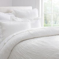 RUCHED VOILE DUVET COVER & SHAM - WHITE