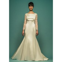 Taffeta Boat Neckline Lace Long Sleeve Mermaid Wedding Dress