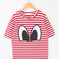 Spring cartoon big eyes print classic stripe basic pullover short-sleeve T-shirt from Sweetbox Store