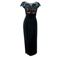 1950's Peggy Hunt Sheer Lace-Illusion Black Hourglass Evening Dress Gown