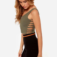 Obey Wild Child Grey Crop Top