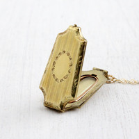Antique Art Deco Locket Necklace - Vintage 1930s Linear & Floral Embossed Geometric 10k Gold Filled Pendant Jewelry