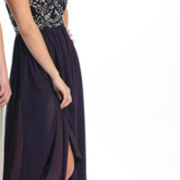 2014 Prom Dresses - Plum & Black Embroidered Chiffon Strapless Empire Waist Prom Dress