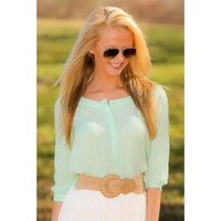 BB DAKOTA:Fine & Dandy Blouse-Mint