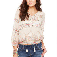 Printed Peasant Top