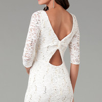 Short Three Quarter Sleeved Lace Dress