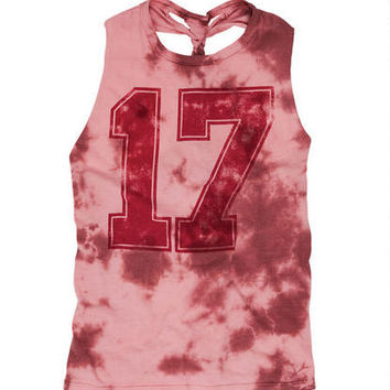 Tie-Dye 17 Braid Back Tank - Red