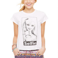 Selfie Barbie Tee - White