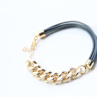 Arm candy - Half and Half: Gold chunky chain and Leather Bracelet - 24k gold plated
