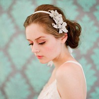 Rhinestone double flower headband Style 134 Made to by myrakim