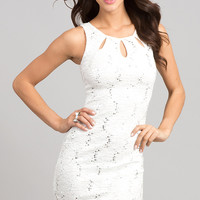 Short Sleeveless Sequin Lace Dress
