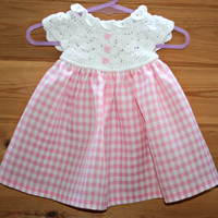 etsy, dresses, handmade, pink, gingham, white, bamboo, crochet, girls, baby clothes, shop, 3 -6 m, summer,dress, cute, babies, gifts, online