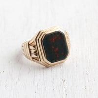 Vintage 10K Yellow Gold Bloodstone Ring - Art Deco Size 7 3/4 Green & Red Semi Precious Stone Men or Womens Fine Jewelry
